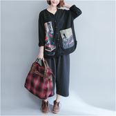 外套【K28】FEELNET中大尺碼女裝2018秋裝韓版V領寬鬆印花開衫長袖外套 L~XL