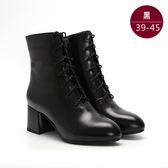 中大尺碼女鞋 經典綁帶馬丁靴/中筒靴 39-45碼 172巷鞋舖【NJBHB558】