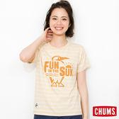 CHUMS 日本 女 有機棉x植物染 彩拼條紋 短袖T恤 黃 CH111108Y001
