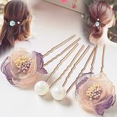 盤髮器 日韓簡約飾品髮梳花朵插梳仿珍珠髮卡髮簪盤髮U型夾子盤髮器頭飾 店慶降價
