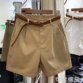 卡其色短褲女夏寬鬆大碼胖mm薄款高腰顯瘦闊腿a字五分褲休閒中褲 可然精品