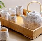 送竹托 景德鎮陶瓷茶具套裝家用整套功夫現代簡約茶壺茶杯子6只裝