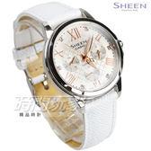 SHEEN SHE-3511L-7A 奢華系列 施華洛世奇 羅馬時刻鑲鑽三眼女錶 真皮 白x玫瑰金 SHE-3511L-7AUDR CASIO卡西歐
