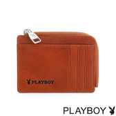 PLAYBOY- L型零錢卡夾 Gold Rush系列-原色棕