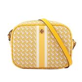 【TORY BURCH】PVC皮革條紋拼幾何圖案相機包(黃色) 64280 DAYLILY