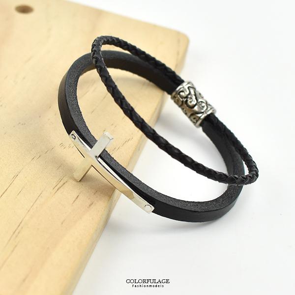 皮手環 經典素面十字真皮雙線手鍊NAK31