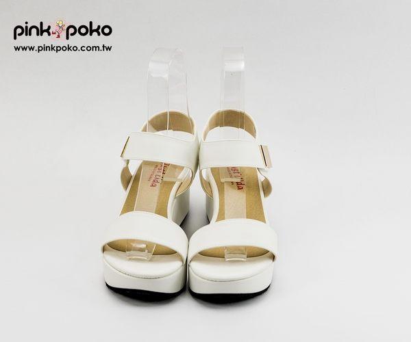涼鞋 ☆PINKPOKO粉紅波可☆極簡素色一字金色方塊魔鬼氈厚底涼鞋~2色 #1684