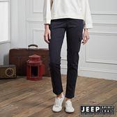 【JEEP】女裝 修身造型貼布口袋長褲 (海軍藍)