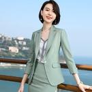 虛線條紋腰身亮色七分袖西裝外套[20X063-PF]美之札