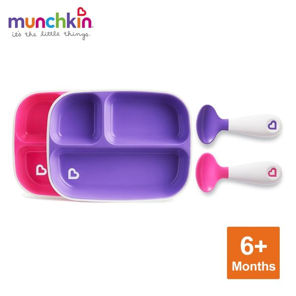 munchkin滿趣健-防滑三格餐盤2入+左右手幼兒學習湯匙2入