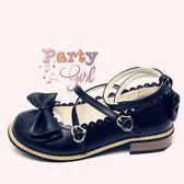 洛麗塔Lolita皮鞋洋裝蝴蝶結圓頭日系低跟【聚寶屋】