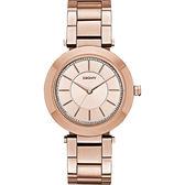 DKNY Stanhope 名模風采晶鑽時尚腕錶/手錶-玫瑰金/36mm NY2287