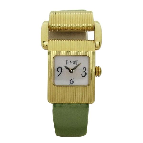 PIAGET 伯爵 綠色皮革金色石英腕錶 Miss Protocole【二手名牌 BRAND OFF】