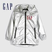 Gap男幼童 Logo閃亮風格連帽外套 577079-銀色