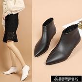 低跟短靴 2021秋冬季新款尖頭矮跟短靴女媽媽鞋百搭時尚顯瘦低跟加絨馬丁靴 快速出貨