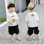 童裝男童夏季棉麻短袖套裝1-2-3歲4寶寶5短袖兩件套 【快速出貨八折免運】
