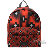 茱麗葉精品【全新現貨】Givenchy 紀梵希十字架條紋尼龍雙肩後背包.紅黑