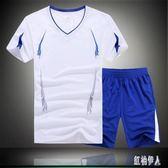 休閒套裝 男夏季健身短袖T恤男士衣服跑步寬鬆運動服大碼兩件裝 GD1385『紅袖伊人』