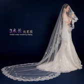 新娘頭紗結婚婚紗2019新款韓式拖尾頭紗超長3米頭紗結婚蕾絲花邊
