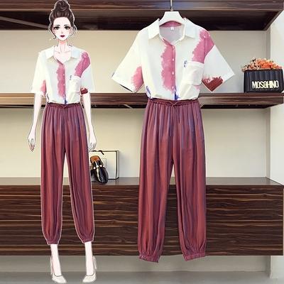 L-4XL胖妹妹大碼套裝~大碼女裝胖mm時尚減齡遮肚顯瘦短袖襯衫哈倫褲兩件套裝4F109愛尚布衣