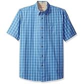 Wrangler 藍哥男短袖經典格子襯衫(弗拉藍色格)