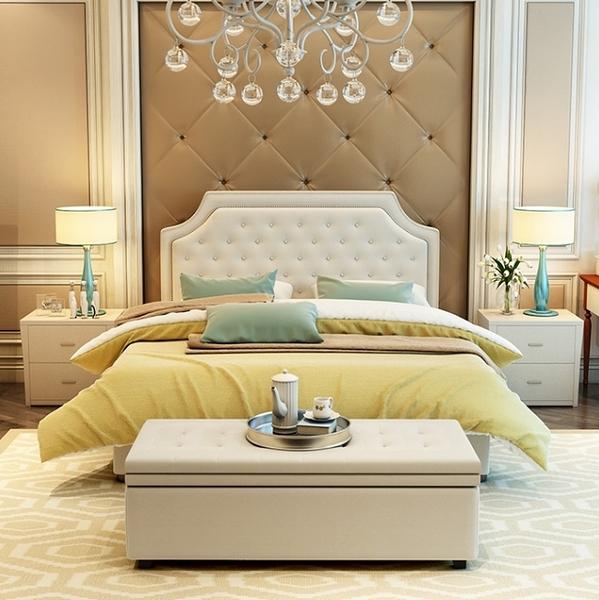 美式布藝雙人床(五尺床台)UM116/六尺雙人床架/臥室床組/五尺床組【千億家居】