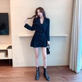 實拍秋裝2020新款韓版氣質假兩件長袖西裝連身裙顯瘦設計感百褶裙