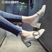 女鞋秋季粗跟正韓百搭英倫風高跟方頭小皮鞋時尚單鞋【搶滿999立打88折】