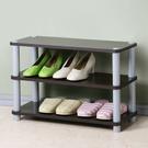 YoStyle 簡約三層開放式鞋架 鞋櫃 置物架 收納架 展示架 (胡桃色)