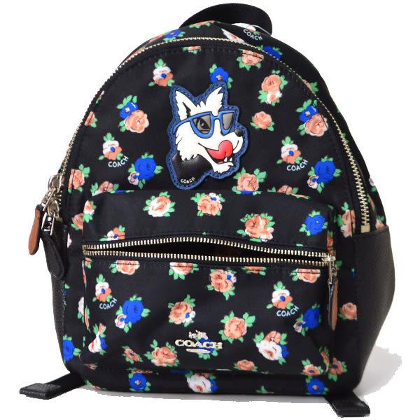 米菲客 COACH 經典馬車LOGO設計 花朵圖樣 荔枝紋耐用皮革 後背包 (黑) 57636