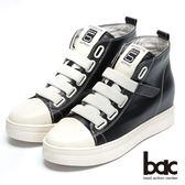【bac】街頭運動 -撞色彈性織帶內增高厚底懶人休閒鞋(黑色)