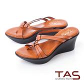 TAS立體雙結繫帶厚底楔型涼鞋-夏日橘