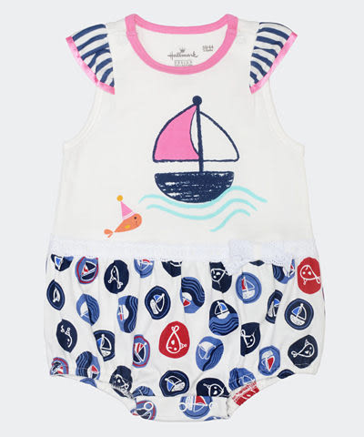 Hallmark Babies 魚寶寶夏日派對長絨棉女嬰短袖連身衣 HD1-E07-01-BG-PN