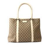 【GUCCI】PVC LOGO皮革飾邊 肩背大購物包(白色)(展示品) 114288