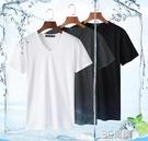 2件】莫代爾 V領短袖t恤男士純棉白色打底衫潮流半袖體恤夏季新款 3C優購
