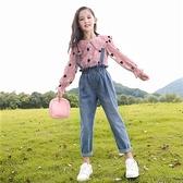 女童背帶褲 13歲女孩套裝洋氣女童牛仔背帶褲韓版新款中大童春秋兒童兩件套 薇薇