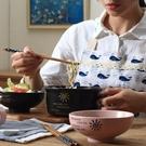 日式便當盒陶瓷飯碗方便麵杯碗帶蓋帶手柄【...