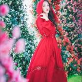 長袖連身裙長裙旅遊沙漠度假雪紡民族風復古連身裙草原長袖紅裙秋新年禮物