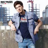 BigTrain加大文字細條紋短袖襯衫-男-深藍-2L.3L