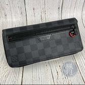 BRAND楓月 LOUIS VUITTON LV N60355 經典 黑色 棋盤格 內裡紅色 拉鍊長夾 錢夾 錢包