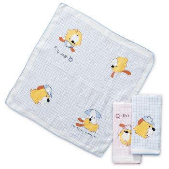 【奇買親子購物網】Q-BBY DOG 格紋LOGO紗布手帕/3入
