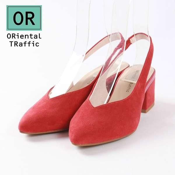 【ORiental TRaffic】時髦V口尖楦後勾帶涼鞋-個性紅