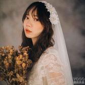 新款發箍旅拍珍珠民國復古新娘結婚頭紗素紗短款婚紗拍  優尚良品