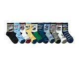 【韓風童品】(10雙/組)交通工具棉質男童襪 工程車圖案中童襪 兒童短筒襪子 男童襪子