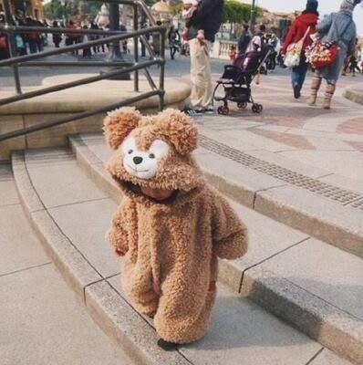 【葉子小舖】可愛小熊造型居家服/男女童裝/嬰幼兒外套/嬰兒服飾/保暖舒適柔軟/連身睡衣套裝