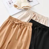闊腿褲女夏雪紡學生韓版寬鬆九分百搭復古溫柔風褲子