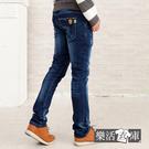 【7218】日系皮革盾牌伸縮小直筒牛仔褲● 樂活衣庫