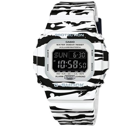 CASIO G-SHOCK 流行斑馬紋潮流腕錶/DW-D5600BW-7