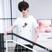 2019夏季韓版短袖帶帽上衣夏季潮流學生半袖休閒衛衣 QW4951【衣好月圓】