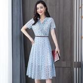 依Baby 洋裝 新款雪紡連身裙夏圓點中長款氣質收腰顯瘦夏季短袖裙